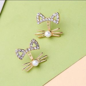 Stunning Gold Colored Kitty Cat Earrings